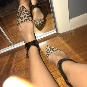 Animal print strappy ankle flat shoes